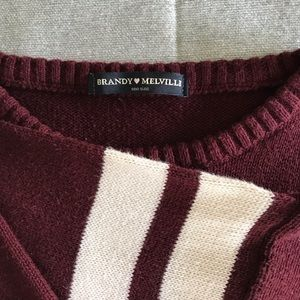 Brandy Melville Collegiate Crew Stripe Sweater